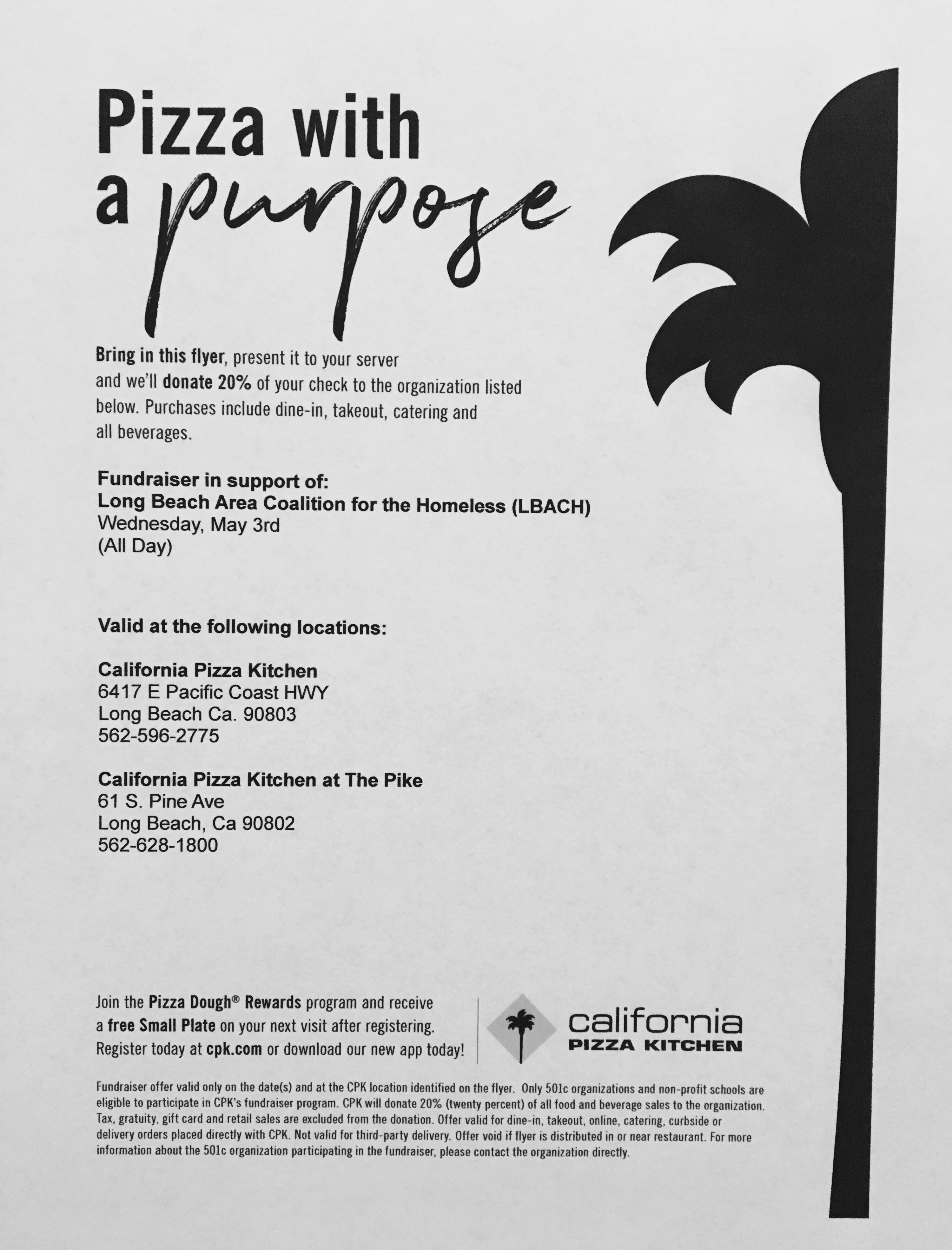 Fundraiser At Cpk Long Beach Area Coalition For The Homeless